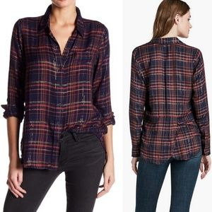 Lucky Brand Plaid Metallic Split Back Blouse